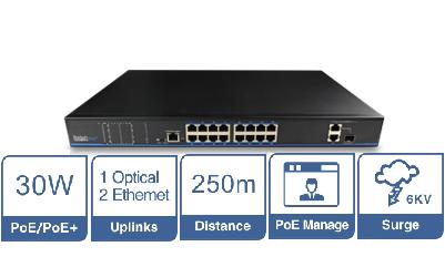 Utepo - UTP1-SW16-TP300 - Switch - 16 PoE - 1 SFP
